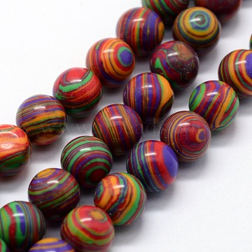 Synthetic Malachite Beads Strands, Dyed, Round, Colorful, 10mm, Hole: 1mm, about 38pcs/strand,  14.96 inches(38cm)(X-G-I199-32-10mm-C)