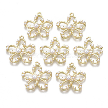 Alloy Pendants, with ABS Plastic Imitation Pearl, Flower, Light Gold, 24.5x23x5mm, Hole: 1.5mm(PALLOY-T077-05)