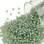 TOHO Round Seed Beads, Japanese Seed Beads, (952FM) Light Aqua Lined Topaz Matte, 11/0, 2.2mm, Hole: 0.8mm, about 1110pcs/bottle, 10g/bottle
