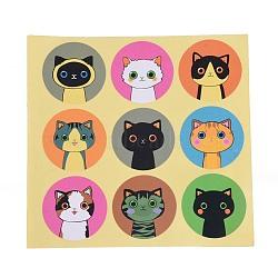 Autocollants de bricolage, étiquette autocollant photo autocollants, thème de chat, colorées, autocollant: 40mm(DIY-O002-11)