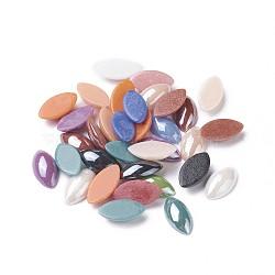 cabochons en verre opaque plaqué perlé, oeil de cheval, couleur mélangée, 18x9x4.5 mm; environ 55 pcs / 50 g(X-PORC-S779-9x18-M)