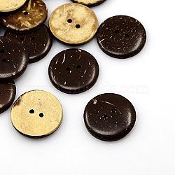Boutons de noix de coco, 2-trou, plat rond, coconutbrown, 23x4mm, Trou: 2mm(X-COCO-I002-097)