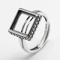 Composants réglables en anneau sterling en argent sterling, carrée, argent antique, plateau: 10x10 mm; 17 mm(STER-F025-75AS)