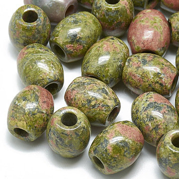 Natural Unakite Beads, Large Hole Beads, Barrel, 17~19x15~16mm, Hole: 5.5mm(G-T093-07)