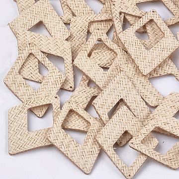 Handmade Straw Woven Big Pendants, Rhombus, Linen, 65x47.5x2.5mm, Hole: 1.2mm(X-WOVE-S119-12D)