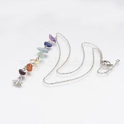 """Chakra naturel mélangé chaînes de pendentif en laiton, couleur mixte, 16.3"""" (41.5 cm)(NJEW-JN02087)"""