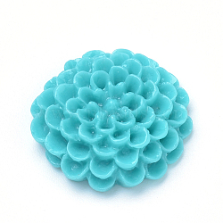 Cabochons en résine, fleur de dahlia, turquoise moyen, 19~20x6~7mm(X-CRES-Q197-22B)