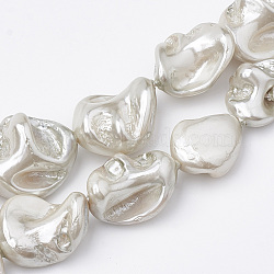 Shell Pearl Beads Strands, Polished, Nugget, WhiteSmoke, 15~25x10~26x5~16mm, Hole: 1mm; about 18pcs/strand, 14.96 inches(X-BSHE-Q031-15G)