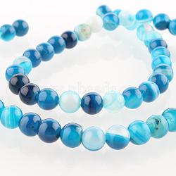 """Chapelets de perles rondes en pierre d'agate naturelle, teint, bleu foncé, 6mm, trou: 1mm; environ 63 pcs/chapelet, 15.35""""(G-E232-11)"""