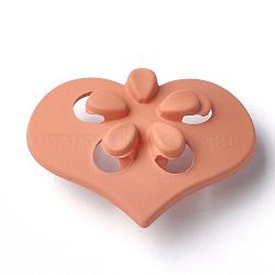 Boutons en acrylique, caoutchouté, 1-trou, coeur avec fleur, corail, 41.5x31x15.5mm, Trou: 4mm(MACR-T024-09C)