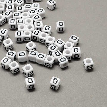 Large Hole Acrylic Letter European Beads, White & Black, Cube with Letter.D, 10x10x10mm, Hole: 4mm(X-SACR-Q103-10mm-01D)