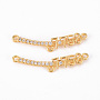 Real 18K Gold Plated Clear Number Brass+Cubic Zirconia Links(KK-Q766-007-NF)