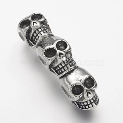 304 горный хрусталь из нержавеющей стали, череп, античное серебро, 48.5x11x20 мм, отверстие : 6 мм ; пригодный для стразов 4 мм(STAS-P169-23AS)