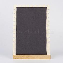 Collier bois affiche, avec faux suède, rectangle, noir, 18x10x26 cm(NDIS-E020-01)