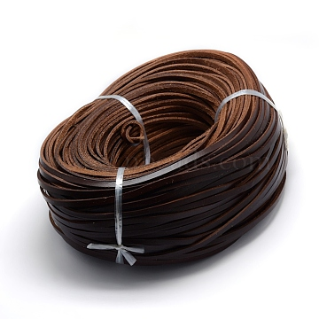 Leather Cords, Flat, Saddle Brown, 5x3mm(X-WL-F006-02D)