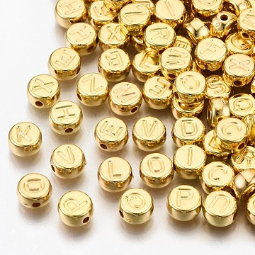 CCB Plastic Beads, Horizontal Hole, Flat Round with Letter A~Z, Golden, 7x4mm, Hole: 1.4mm(X-CCB-N004-002G)