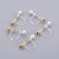 Bagues d'oreilles unies en plastique, avec coquille perle et 316 accessoires en acier inoxydable, or, 17.5x11.5x3mm, Trou: 1.1mm(X-STAS-P221-24G)