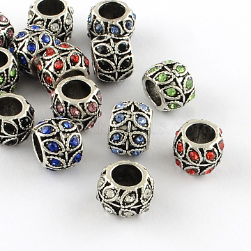 Antique Silver Plated Alloy Rhinestone Large Hole European Beads, Rondelle with Leaf, Mixed Color, 9x7mm, Hole: 5mm(X-MPDL-R041-02)