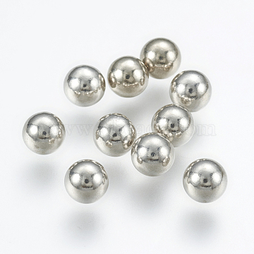 925 Sterling Silver Beads, Round, No Hole, Platinum, 5mm(X-STER-K037-041C)
