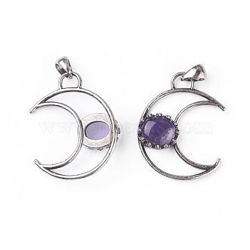 Antique Silver Purple Moon Amethyst Pendants