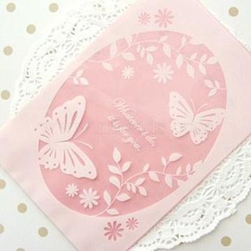 Sacs à biscuits, avec le papillon, rose, 19x13 cm; environ 100 pcs / sac(PE-L003-06)