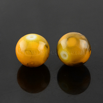 4mm Goldenrod Round Glass Beads