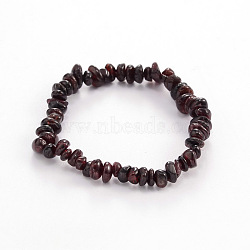 Chips Natural Garnet Beaded Stretch Bracelets, 1-3/4 inches(4.5cm)(X-BJEW-JB01826-09)