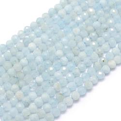 """Chapelets de perles en aigue-marine naturelle, facette, rond, 3mm, trou: 0.5mm; environ 113 pcs/chapelet, 15.35"""" (39 cm)(X-G-E411-19D-3mm)"""