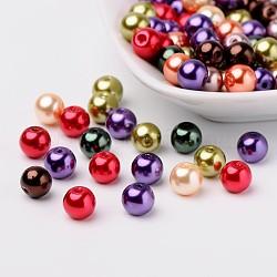 Perles en verre nacré goutte mixtes, couleur mixte, 8mm, trou: 1 mm; environ 100 PCs / sachet (HY-X006-8mm-06)