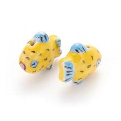 Perles de porcelaine imprimées manuelles, poisson, jaune, 15~17x18~19x9~11mm, Trou: 1.8mm(PORC-E015-13A)