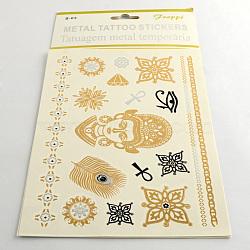 Autocollants en papier métallique de tatouages temporairese amovible d'art corporel cool en forme mixte, couleur mixte, 15~180x4~47 mm; 12 pcs / sac(AJEW-Q081-59)