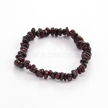 Chips Natural Garnet Beaded Stretch Bracelets, 1-3/4 inches(4.5cm)(X-BJEW-JB01826-09)