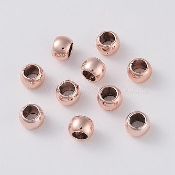 Alloy European Beads, Large Hole Beads, Flat Round, Rose Gold, 6.5x5mm, Hole: 4mm(PALLOY-E450-60RG)