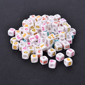 Mixed Style Opaque Acrylic European Large Hole Beads, Cube, Mixed Color, 7x7x7mm, Hole: 4mm(X-SACR-I001-01)