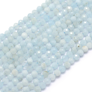 Natural Aquamarine Beads Strands, Faceted, Round, 3mm, Hole: 0.5mm; about 113pcs/strand, 15.35inches(39cm)(X-G-E411-19D-3mm)