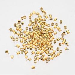 Tube à sertir en laiton plaqué or, environ 2 mm de large, Longueur 2mm, Trou: 1.5mm, environ 900 pcs/10 g(X-E003-G)
