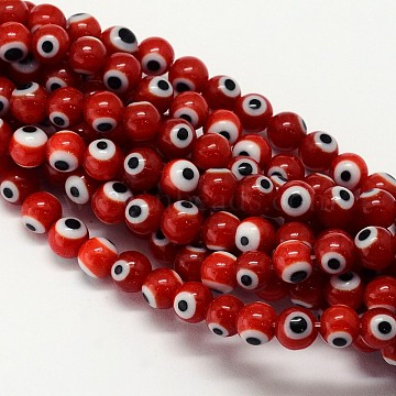 Handmade Evil Eye Lampwork Round Bead Strands, Dark Red, 6mm, Hole: 1mm, about 65pcs/strand, 14.17 inches(X-LAMP-L055-6mm-10)