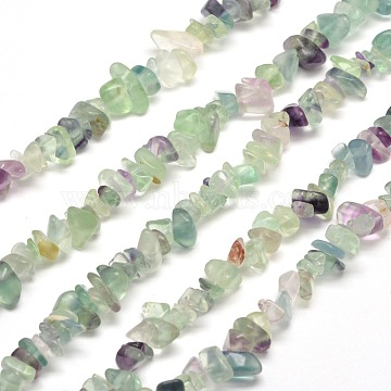 Natural Fluorite Chip Bead Strands, 5~8x5~8mm, Hole: 1mm, about 31.5 inches(X-G-M205-08)