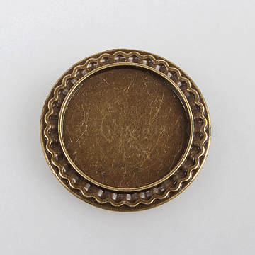 Vintage Alloy Brooch Cabochon Bezel Settings, with Iron Pin Brooch Back Bar Findings, Flat Round, Cadmium Free & Nickel Free & Lead Free, Antique Bronze, Tray: 25mm; 34x2mm; Pin: 0.6mm(X-PALLOY-N0085-54AB-NF)