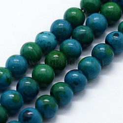 "Perles synthétiques chrysocolla brins, rond, 6mm, trou: 0.5mm; environ 63 pcs/chapelet, 14.96"" (38 cm)(G-I199-34-6mm)"