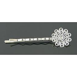Accessoires bobby épingle à cheveux en laiton , avec bac à fleur, argenterie, 57~60x16x5mm(KK-E161-S)