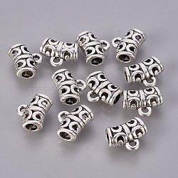 Cintres de style tibétain , Perles renflouer , sans plomb, Tube, argent antique, taille: environ 10 mm de long,  largeur de 12 mm, épaisseur de 6mm, Trou: 1.5mm, diamètre intérieur: 4mm.(X-TIBEP-QA785-AS-LF)