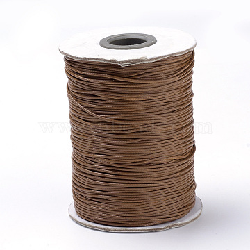 Braided Korean Waxed Polyester Cords, Saddle Brown, 1mm, about 174.97 yards(160m)/roll(YC-T002-1.0mm-125)
