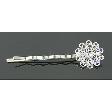 Brass Hair Bobby Pin Findings, with Flower Tray, Silver Color Plated, 57~60x16x5mm(KK-E161-S)