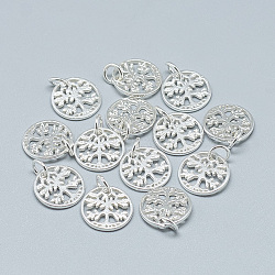 925 Sterling Silver Charms, with Jump Ring, Flat Round with Tree of Life, Silver, 13.5x1.5mm, Hole: 3mm(STER-T002-96S)