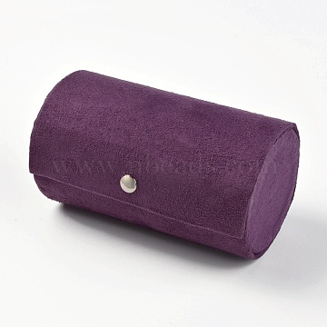 Jewelry Displays, Pesentation Boxes, Covered with Velvet and Fiber Board, Purple, 13.5x7.5cm(ODIS-TAC0001-01C)