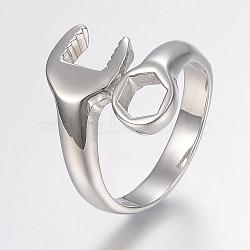 Bagues en 316 316 acier inoxydable, anneaux large bande, clé, couleur inoxydable, 17~23mm(RJEW-G091-15-P)