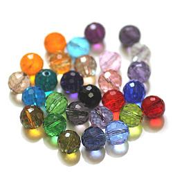 Perles d'imitation cristal autrichien, grade AAA, facette, rond, couleur mixte, 6mm, Trou: 0.7~0.9mm(SWAR-F073-6mm-M)