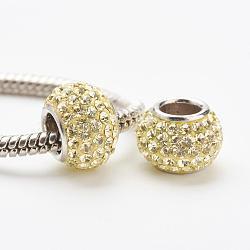 cristal autrichien perles européennes, grandes perles de trou, le noyau sterling silver, rondelle, 213 _jonquil, 11~12x7.5 mm, trou: 4.5 mm(STER-E049-E26)