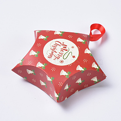 Star Shape Christmas Gift Boxes, with Ribbon, Gift Wrapping Bags, for Presents Candies Cookies, Red, 12x12x4.05cm(X-CON-L024-F01)